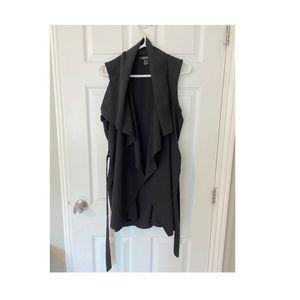 'Draped Ruffle Jacket/Vest'-Black